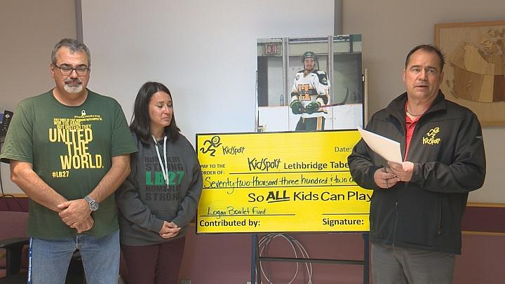 KidSport cheque from Logan Boulet fund.