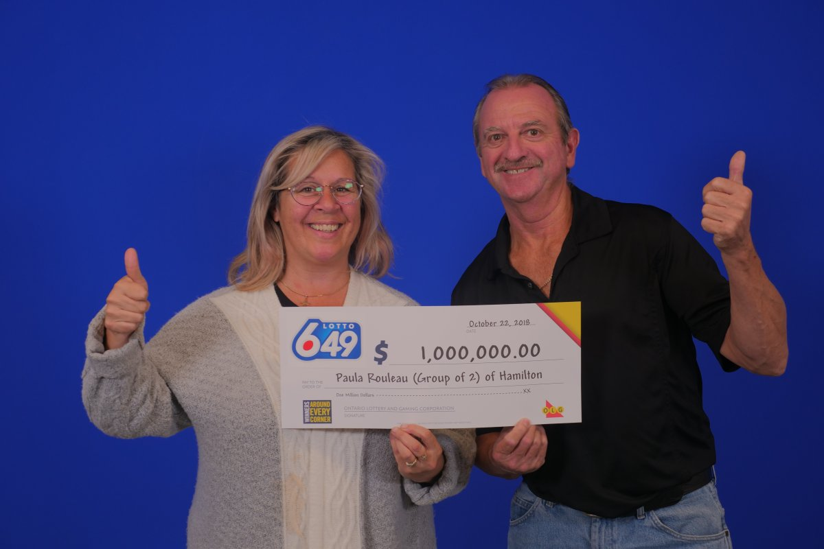 Paula Rouleau and Frank Reeves of Hamilton have won the guaranteed $1 million prize in the October 20 LOTTO 6/49 draw.