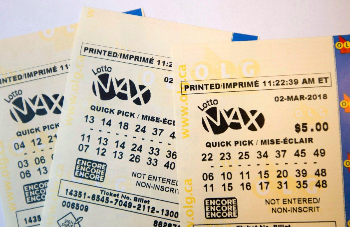 File: Lotto Max tickets shown in Toronto on Feb. 26, 2018.