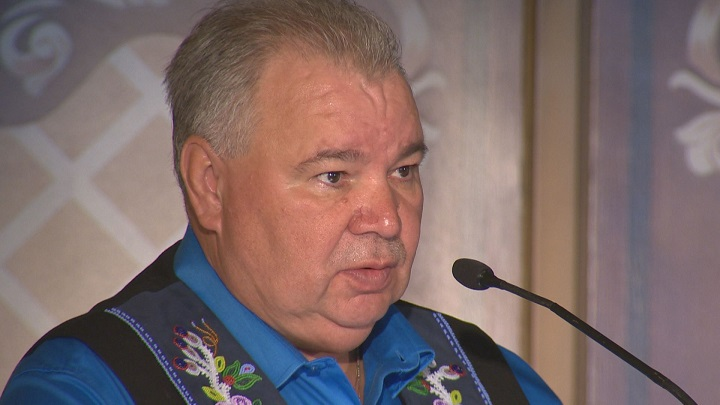 Manitoba Métis Federation president David Chartrand speaks at a symposium at the Fort Gary Hotel in Winnipeg.