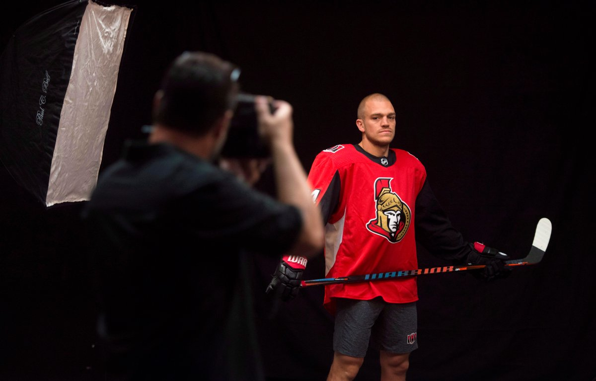 Ottawa Senators' Mark Borowiecki poses for photos as he reports to the first day of hockey training camp in Ottawa on Thursday, Sept. 13, 2018.  Borowiecki has been suspended one game for his elbow on Boston Bruins defenceman Urho Vaakanainen on Tuesday night.