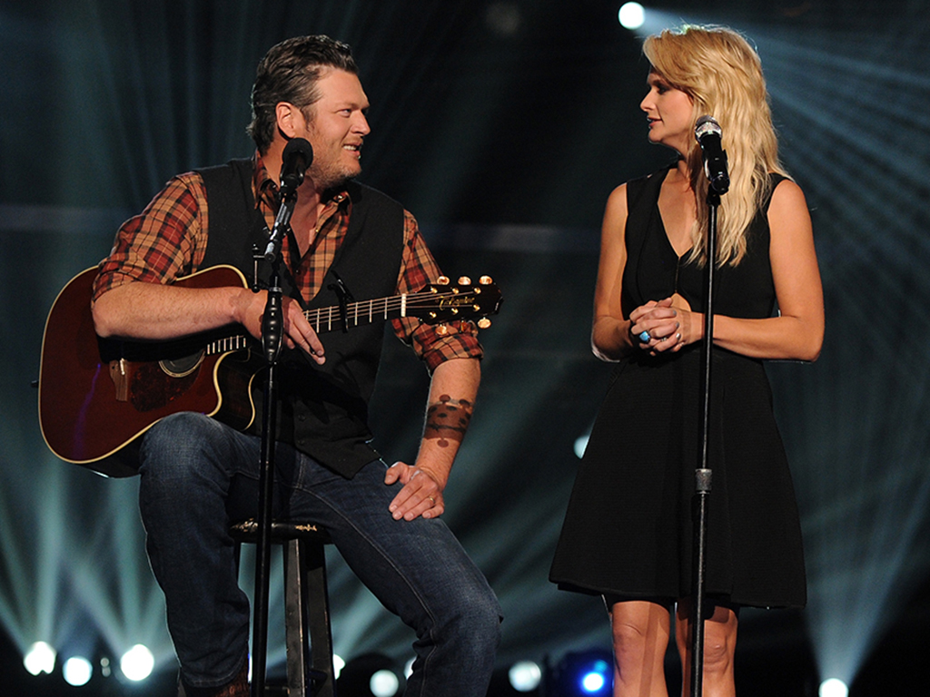 Blake Shelton (L) and Miranda Lambert perform onstage during ACM Presents: An All-Star Salute To The Troops at the MGM Grand Garden Arena on April 7, 2014 in Las Vegas, Nev.