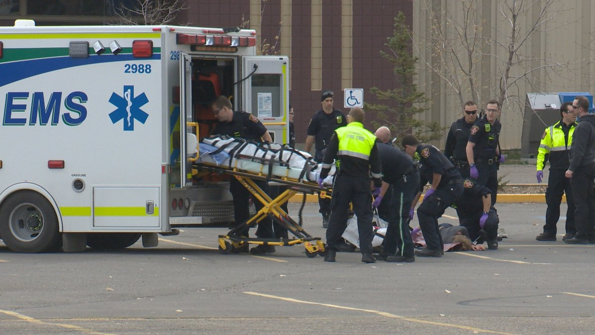 Lethbridge EMS rush to aid victims in mock disaster training.