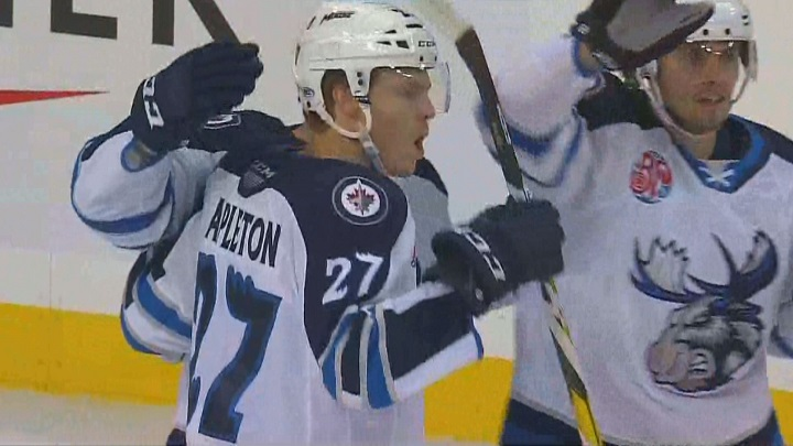Mason Appleton scored three goals and two assists Sunday to lift the Manitoba Moose over the San Antonio Rampage 6-3.