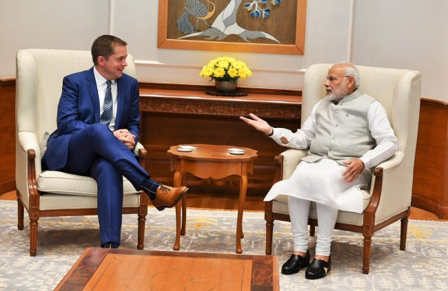 Conservative Leader Andrew Scheer and Indian Prime Minister Narendra Modi meet in New Delhi, India, Oct. 9, 2018.