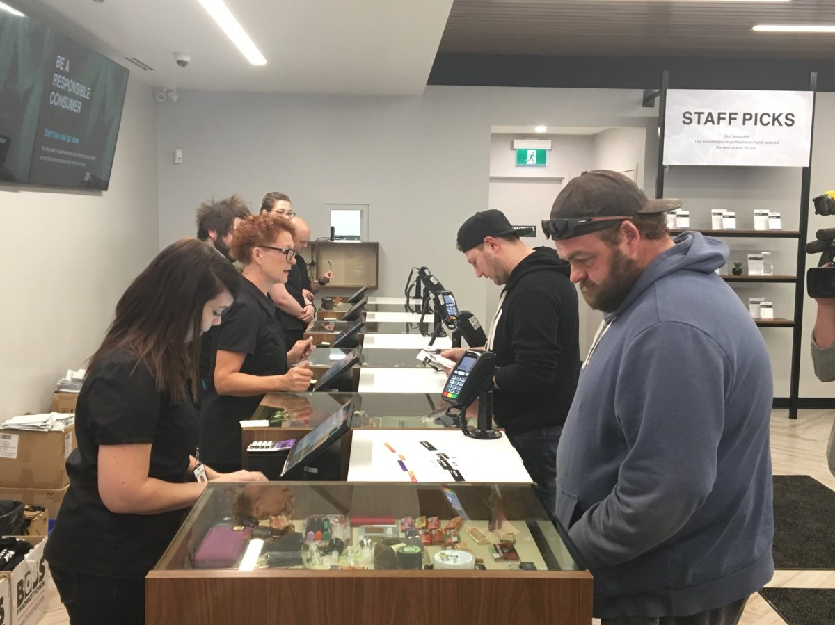 Hundreds of people lined up at Nova Cannabis near 80 Avenue and 104 Street in south Edmonton on Oct. 17, 2018, on the first day of marijuana legalization in Canada.