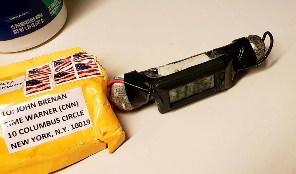 This image, obtained Oct. 24, 2018 and provided by ABC News, shows a package addressed to former CIA head John Brennan and an explosive device sent to CNN's New York office.