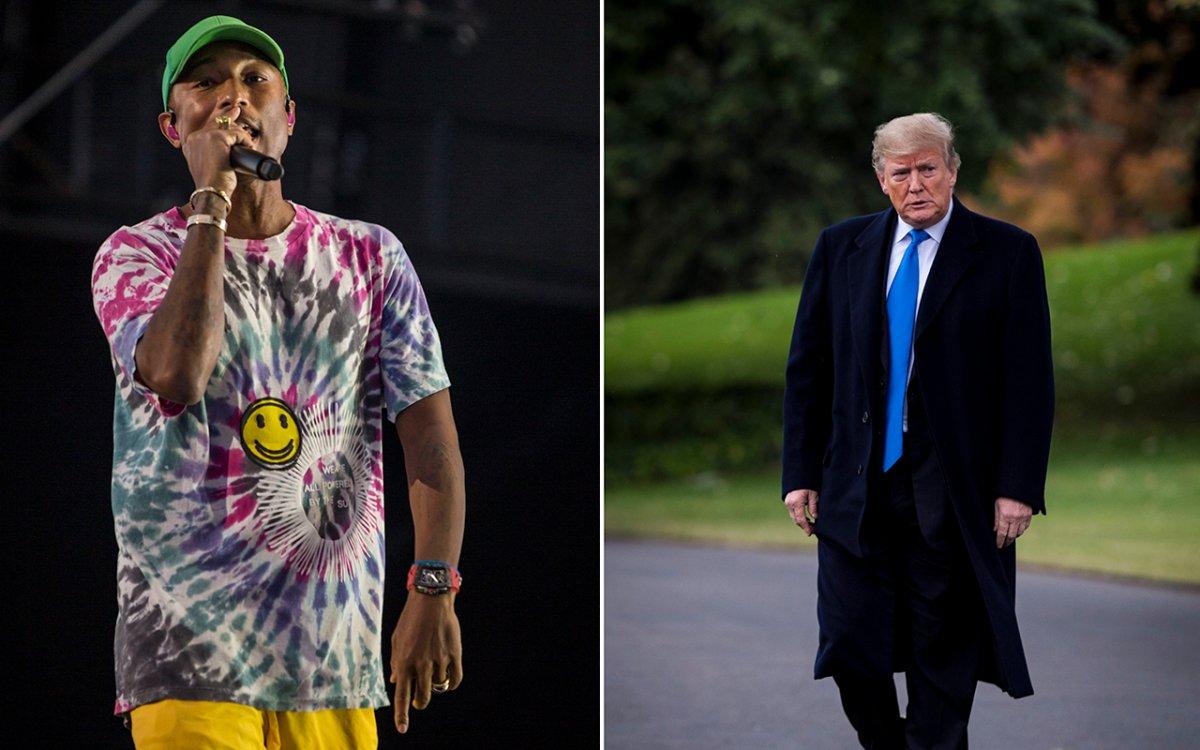 (L-R) Pharrell Williams and U.S. President Donald Trump.