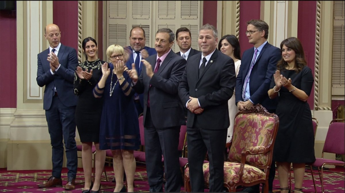 The ten Parti Quebecois MNA's were sworn in at the National Assembly on Friday, October 19, 2018.