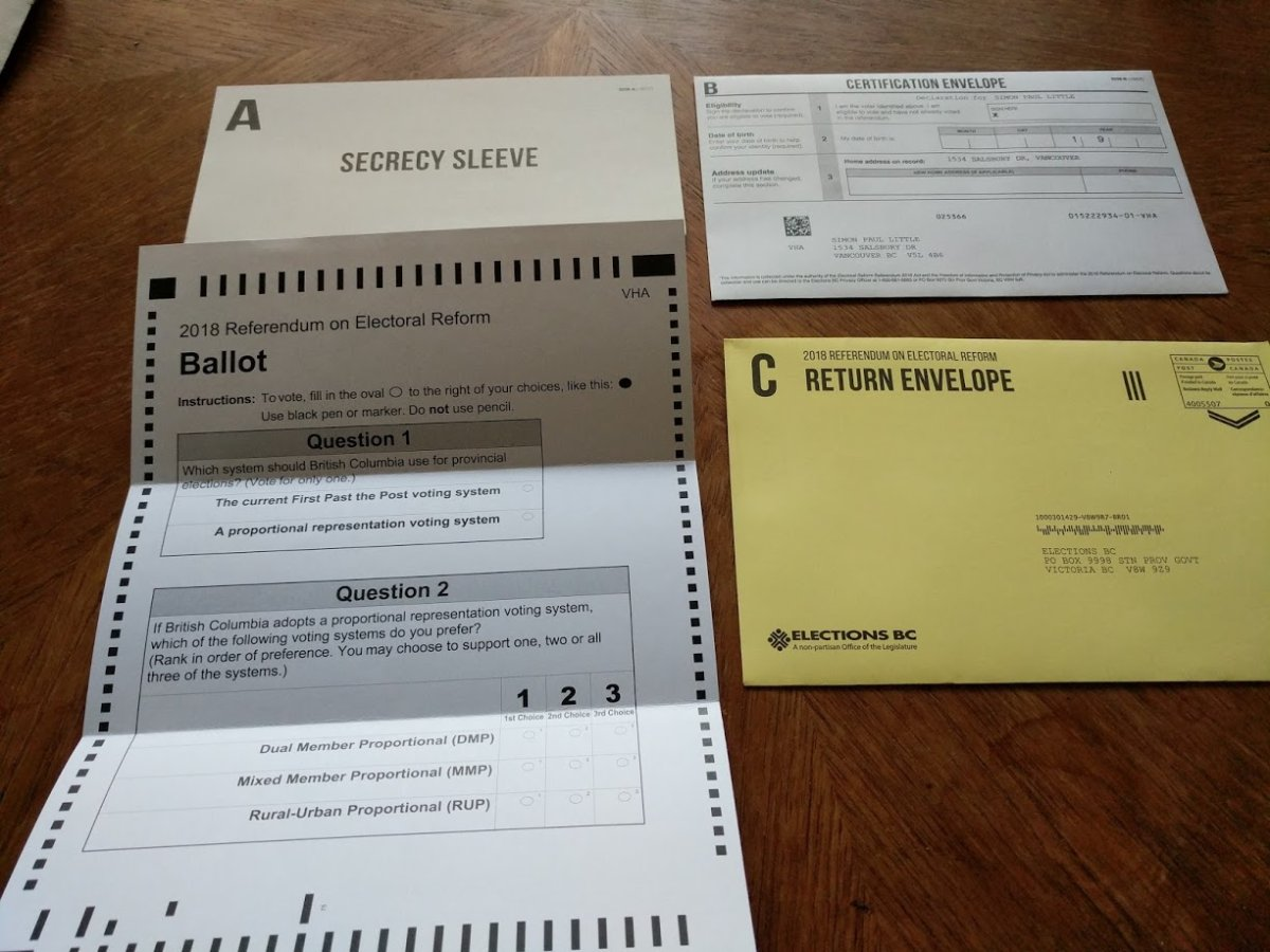 Voters are being asked if they wish to keep the current first-past-the-post system or switch to one of three systems of proportional representation.