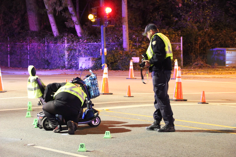 One person was taken to hospital with serious injuries after their scooter was hit in Surrey on Wednesday.