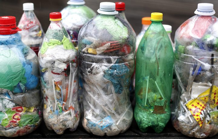Bottles full of single-use plastic waste are shown in Cape Town, South Africa, in this May 30, 2018 file photo.