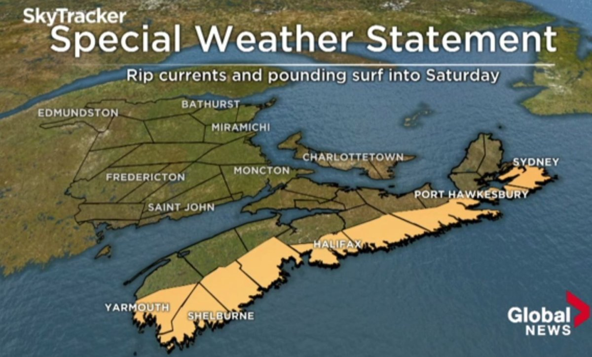 Swell waves along the Nova Scotia coast are creating optimal surfing conditions. .