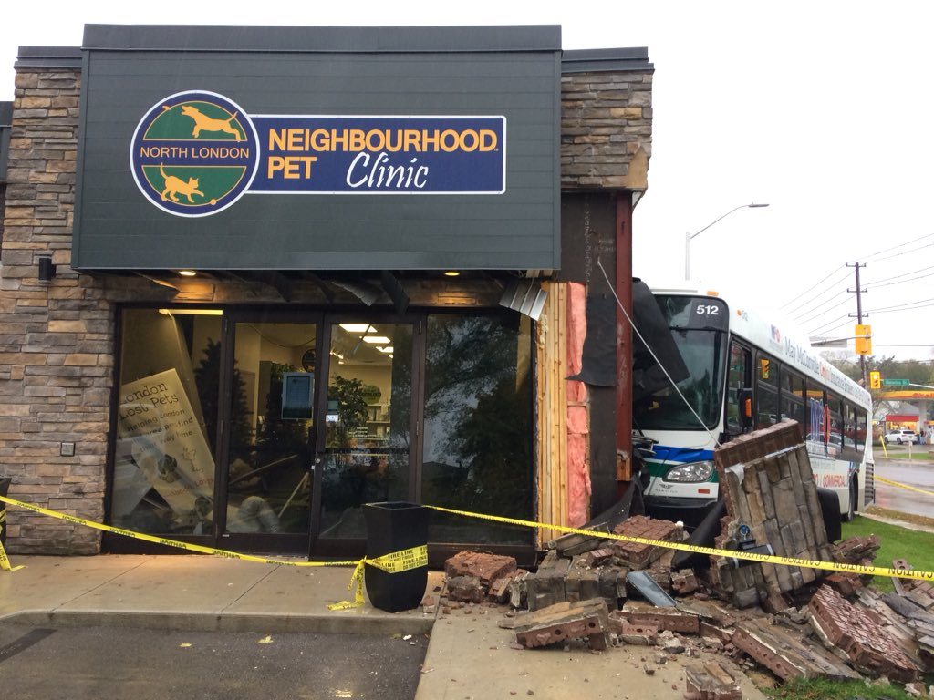 The exterior of the North London Neighbourhood Pet Clinic at 746 Waterloo St., which was heavily damaged after an LTC slammed into the side of the building on Tuesday, Oct. 30, 2018.