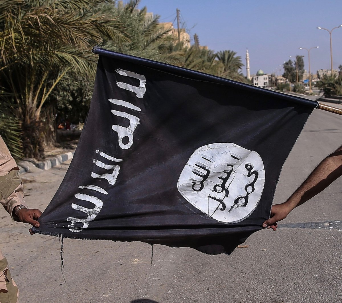 Seized ISIS flag in Palmyra, Syria, MARCH 26, 2016.