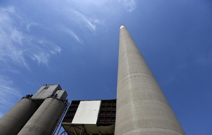 The 770-foot-tall Hearn Smokestack from where base jumpers will leap. Photographed during media tour of the Hearn Generating Station on May 31 2016. For the tenth anniversary of the Festival, all events will be held at the former Hearn Generating Station located in Toronto's port lands area.