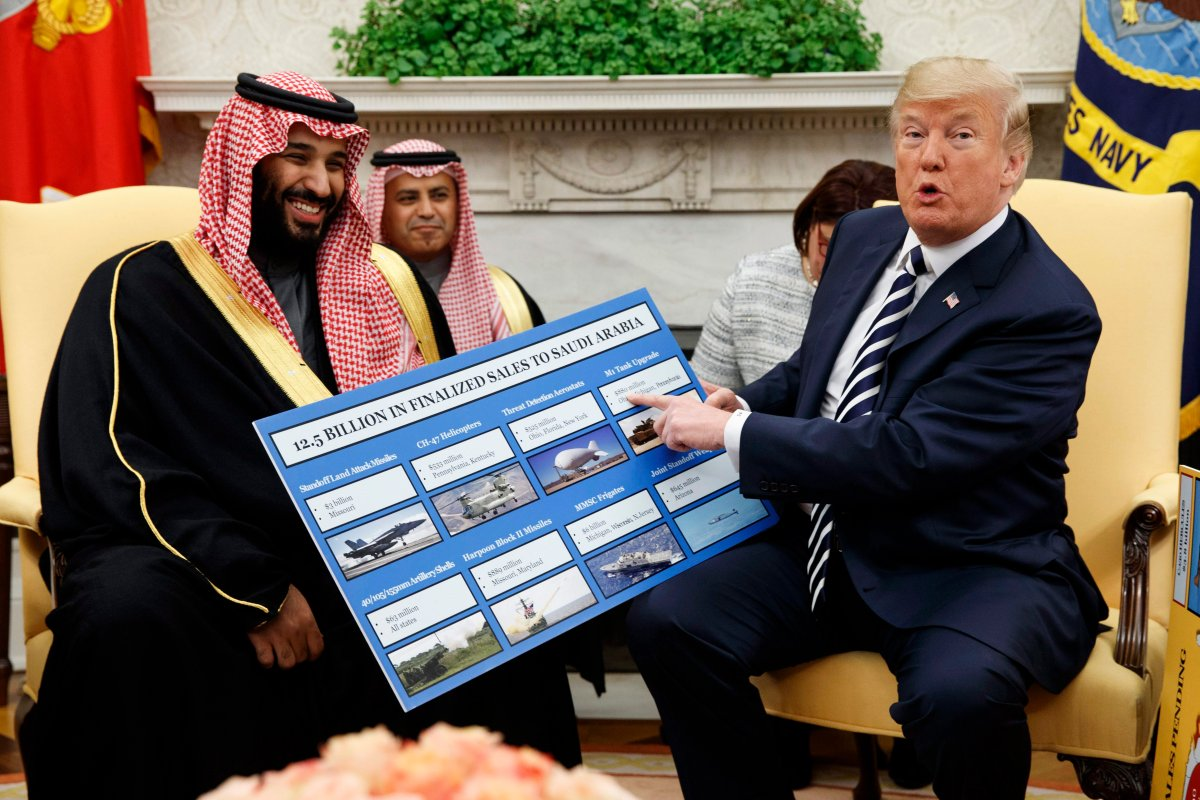 FILE - In this March 20, 2018 file photo, President Donald Trump shows a chart highlighting arms sales to Saudi Arabia during a meeting with Saudi Crown Prince Mohammed bin Salman in the Oval Office of the White House, in Washington. (AP Photo/Evan Vucci, File).