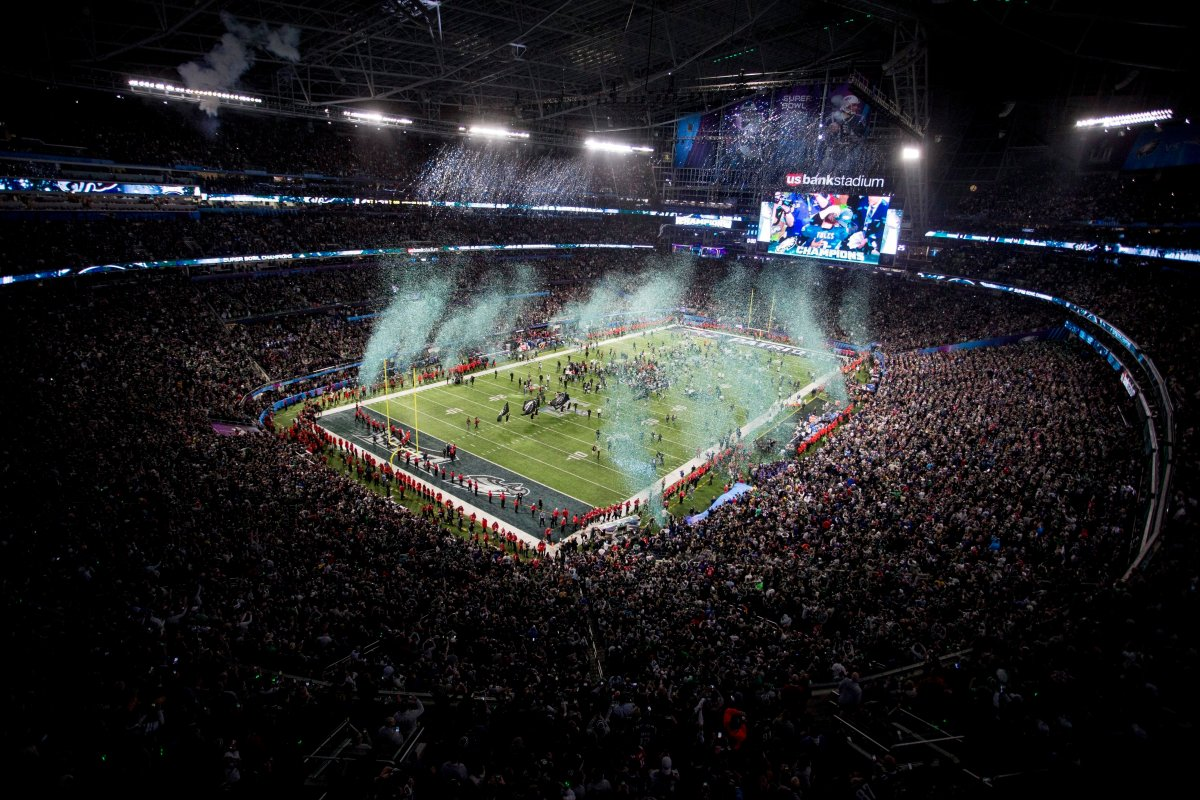 In this Feb. 4, 2018, file photo, the Philadelphia Eagles celebrate their 41-33 win over the New England Patriots at the NFL Super Bowl 52 football game, in Minneapolis.