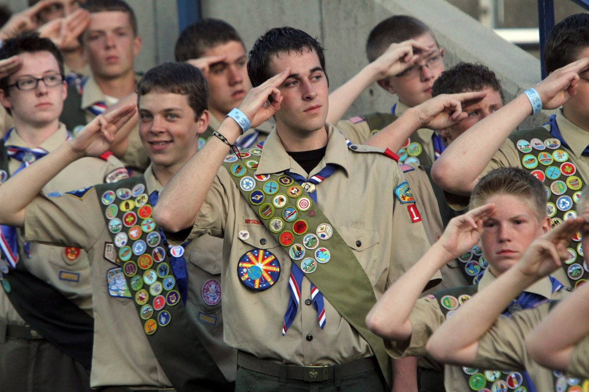 FILE--In this July 3, 2010, file photo, Boy Scouts salute during the Stadium of Fire in Provo, Utah.