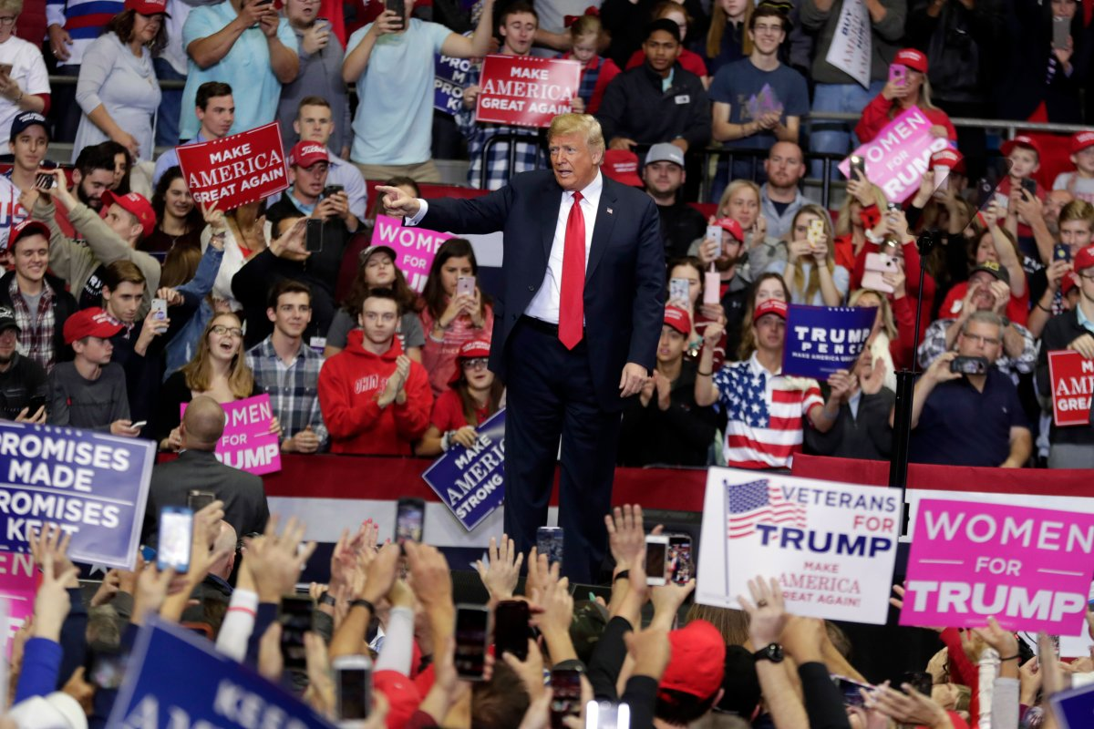 President Donald Trump speaks at a campaign rally at the Allen County War Memorial Coliseum in Fort Wayne, Ind., Monday, Nov. 5, 2018. (AP Photo/Michael Conroy).