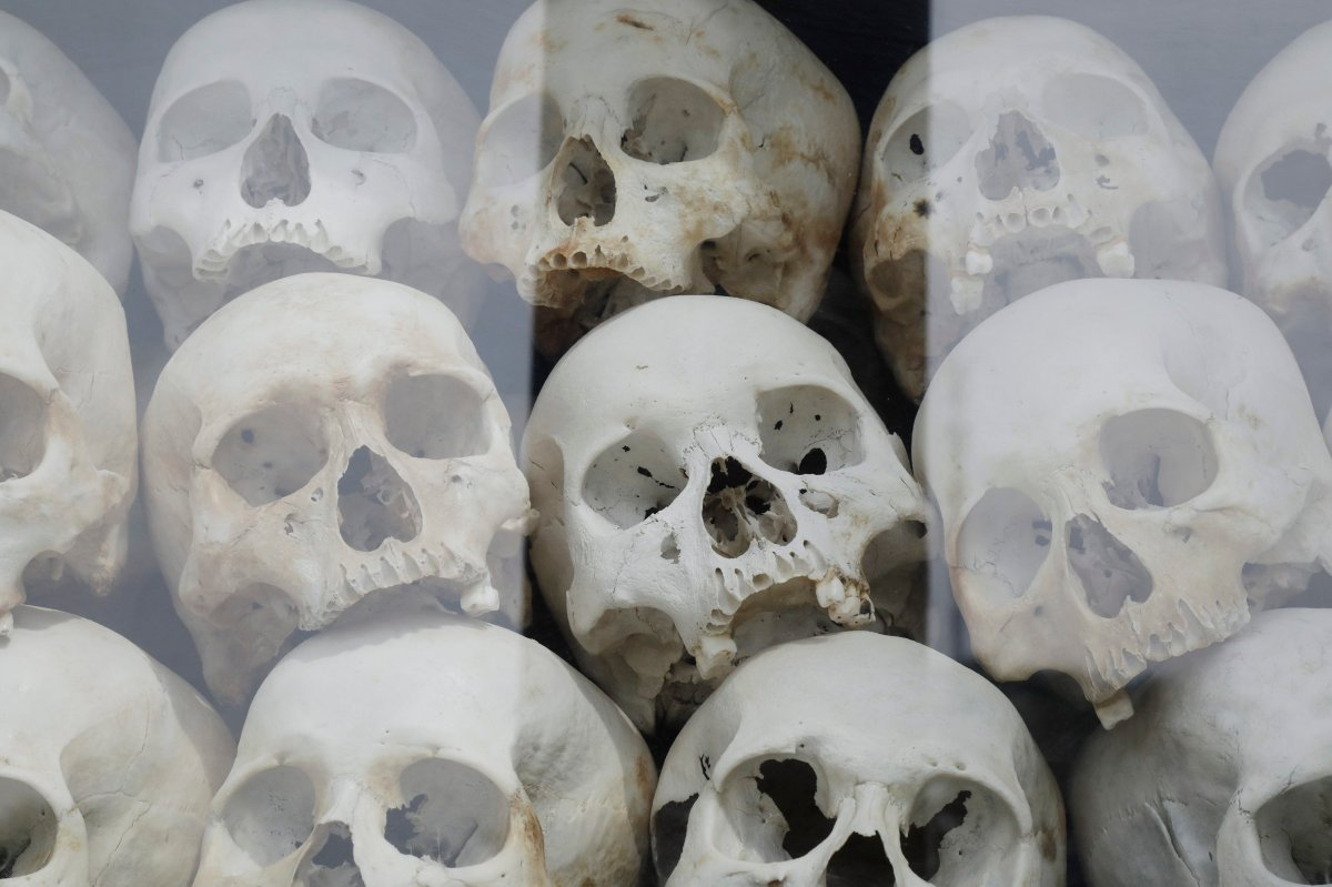 The remains of victims who died during the Khmer Rouge regime are on display at the Choeung Ek Genocidal Center, on the outskirts of Phnom Penh, Cambodia, Nov. 15, 2018.
