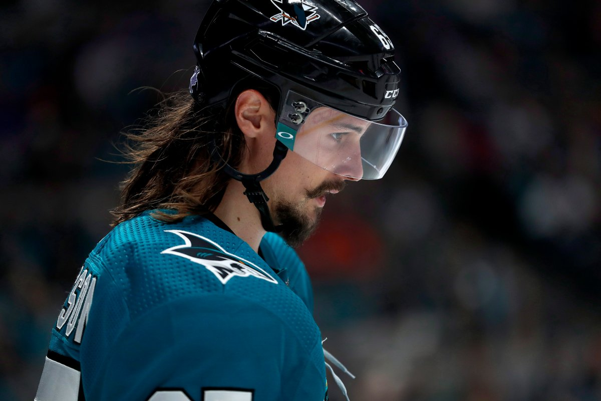 San Jose Sharks defenseman Erik Karlsson (65) lines up for a face-off against the St. Louis Blues during the third period of an NHL hockey game in San Jose, Calif., Saturday, Nov. 17, 2018. San Jose won 4-0.