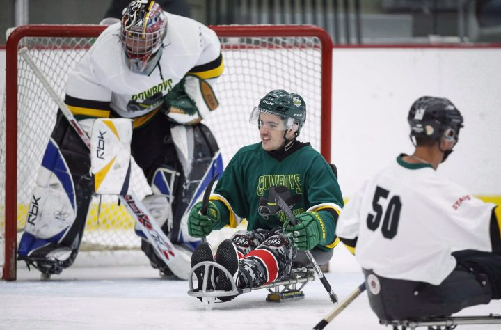 Seven months after they were both paralyzed in the Humboldt Broncos bus crash Ryan Straschnitzki and Jacob Wassermann will finally have a proper reunion. Humboldt Broncos bus crash survivor Ryan Straschnitzki, centre, plays in a fund raising sledge hockey game in Calgary, Alta., Saturday, Sept. 15, 2018.