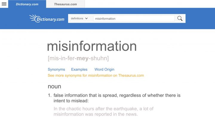 This screen image released by Dictionary.com shows an entry for the word misinformation, which Dictionary.com announced as its 2018 Word of the Year.
