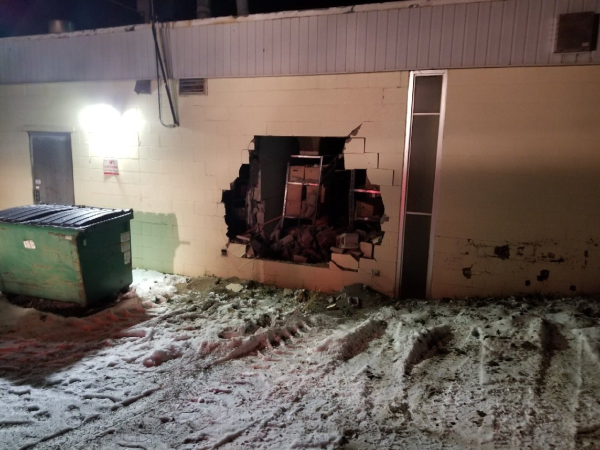 RCMP said a construction loader was used to break into the Scotiabank in Valleyview, Alta. on Friday, Nov, 9.
