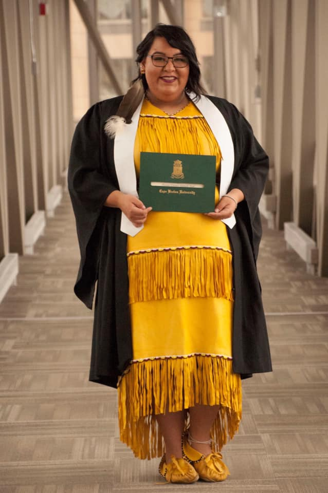 Tiannie Paul poses with her engineering diploma from Cape Breton University on her graduation day Nov. 3, 2018.