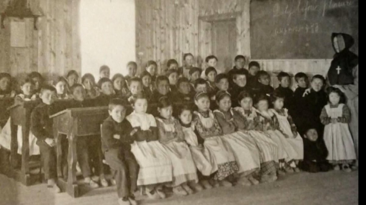 A file photo of Indigenous children at a residential school.