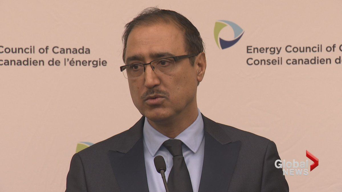 Canada's Natural Resources Minister Amarjeet Sohi speaks to reporters in Calgary Wednesday, Nov. 14, 2018.