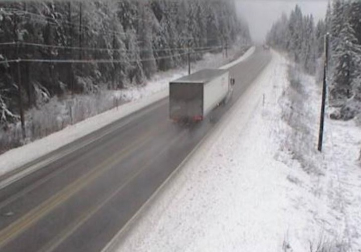 Drivers should expect wet and snowy driving conditions in the North Shuswap today.