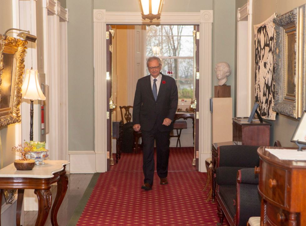 New Brunswick Progressive Conservative Leader Blaine Higgs walks down the hall of Government House after meeting with Lieutenant Governor of New Brunswick Jocelyne Roy-Vienneau at Government House in Fredericton on Friday, Nov. 2, 2018.