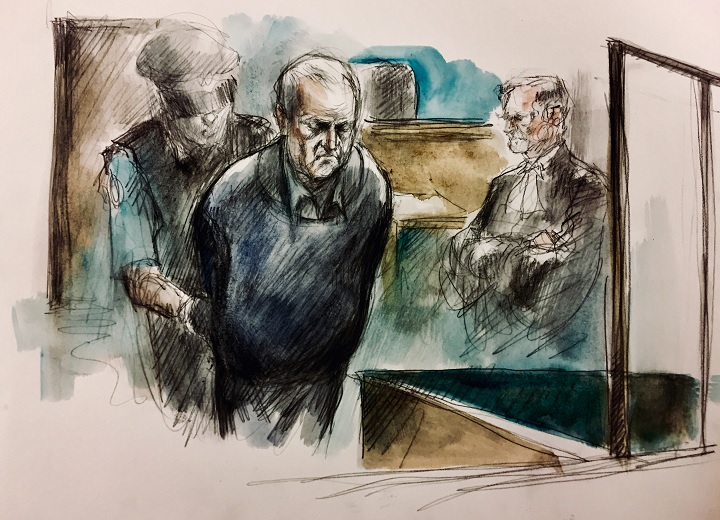 Court sketch of Bruce McArthur appearing in a Toronto court on Nov. 5, 2018.
