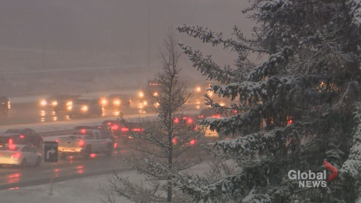 A snowfall warning was issued for Calgary and surrounding areas on Friday afternoon.