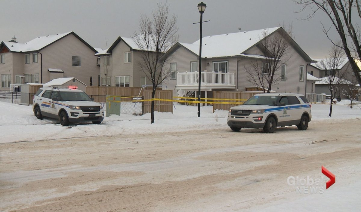 RCMP on scene of a homicide in Chestermere on Monday, Nov. 26.