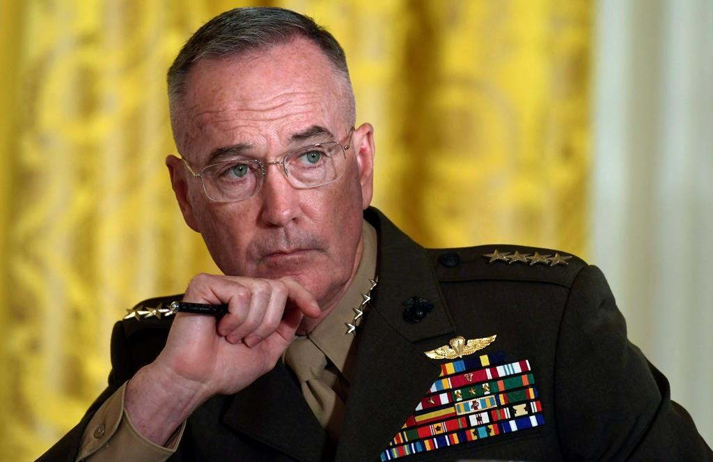 Gen. Joseph Dunford, the chairman of the Joint Chiefs of Staff, listens during the National Space Council meeting in the East Room of the White House in Washington, Monday, June 18, 2018.