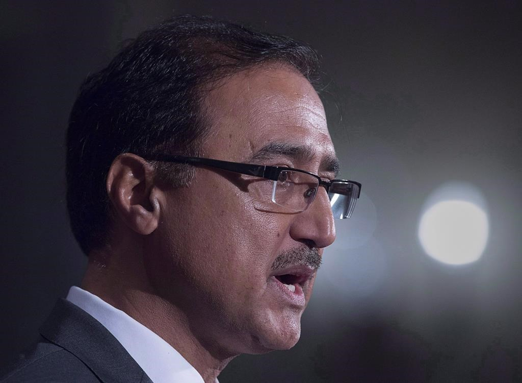 Canadian Natural Resources Minister Amarjeet Sohi fields questions about the government's plans regarding the Trans Mountain Pipeline Project, as the G7 environment, oceans and energy ministers meet in Halifax on Friday, Sept. 21, 2018.