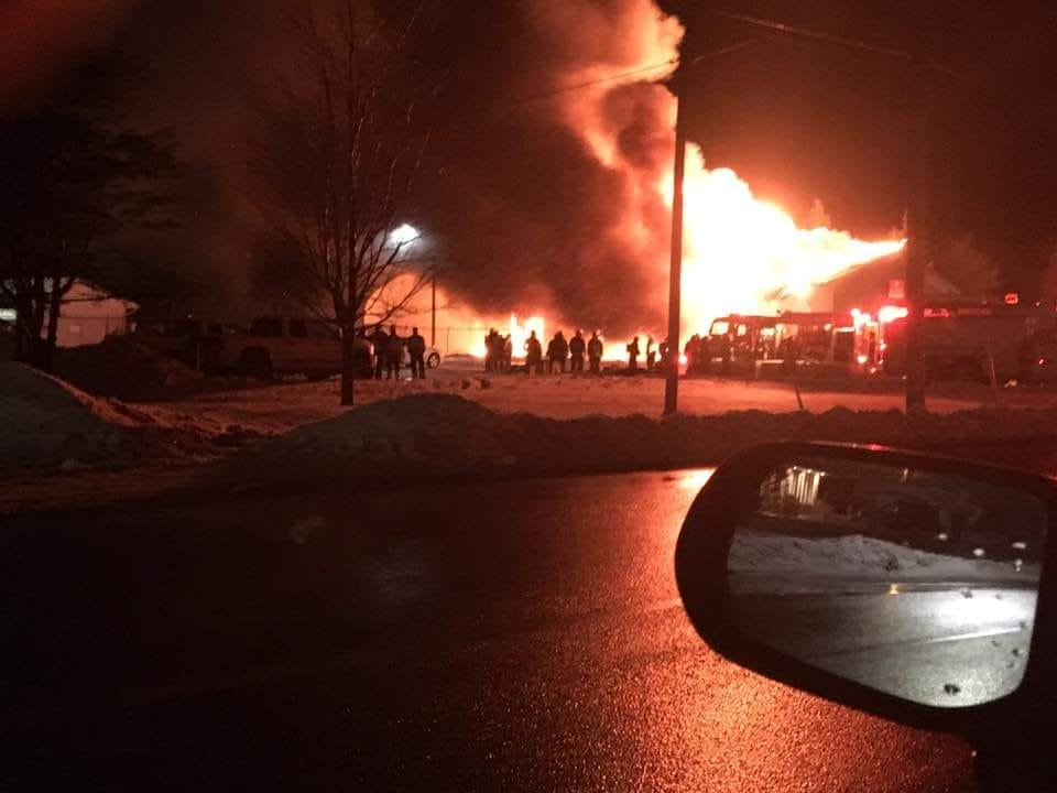 An NB Power operations centre in Bouctouche, N.B., was consumed by fire on Nov. 26, 2018.