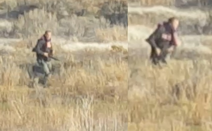 Officials are on the lookout for two men who are believed to have shot a yearling bighorn sheep near Spences Bridge.