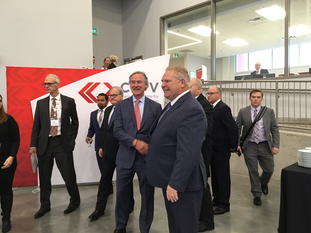 Maple Leaf Foods President and CEO Michael McCain shakes hands with Premier Doug Ford, during the announcement of a $660-million poultry processing plant in London on Nov. 27/2018.