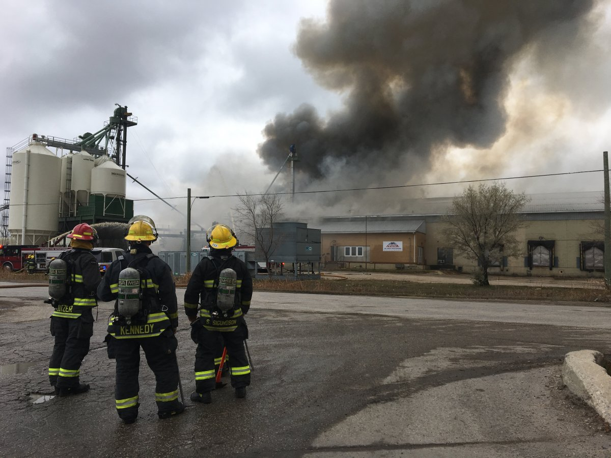 Firefighters at the scene of the Friendly Family Farms fire on Nov. 5, 2018.