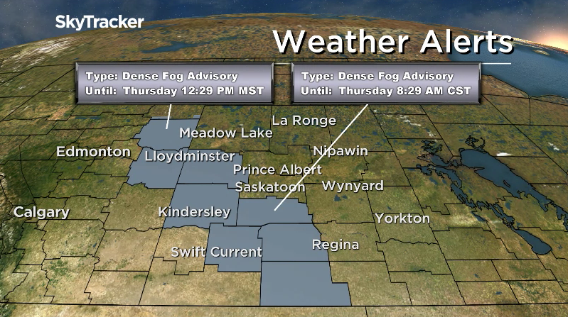 Near zero visibility is occurring in parts of southwest and west central Saskatchewan due to fog.
