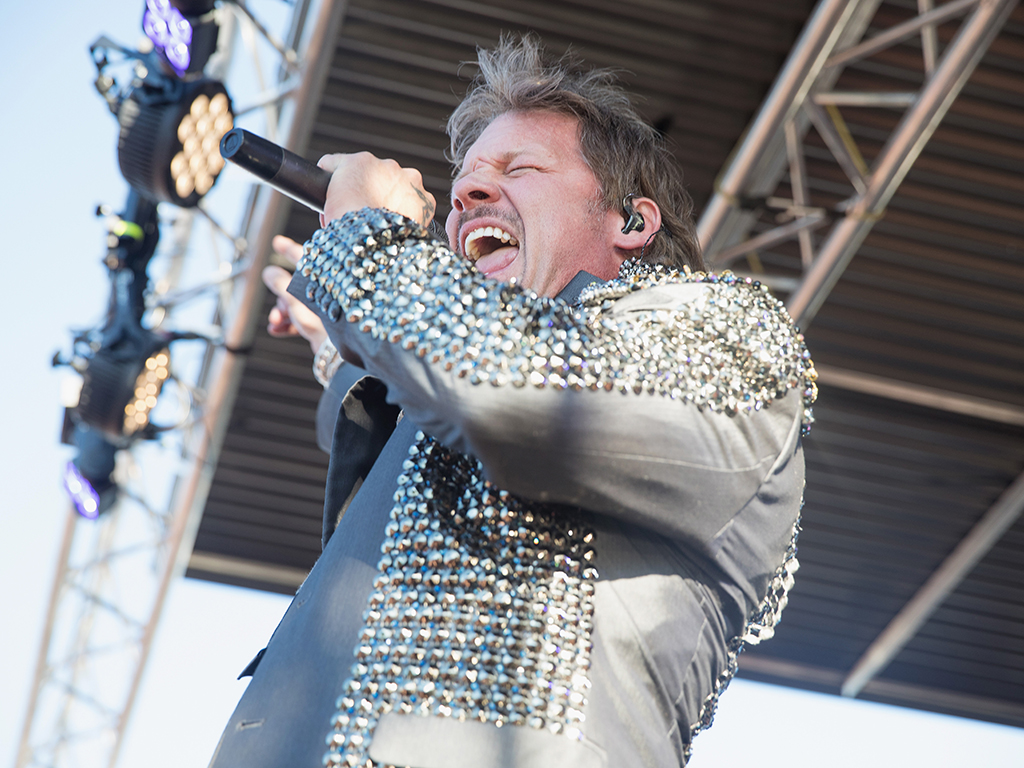 Chris Jericho of Fozzy performs on stage during the Pain In the Grass music festival at White River Amphitheatre on June 24, 2017 in Auburn, Wash.