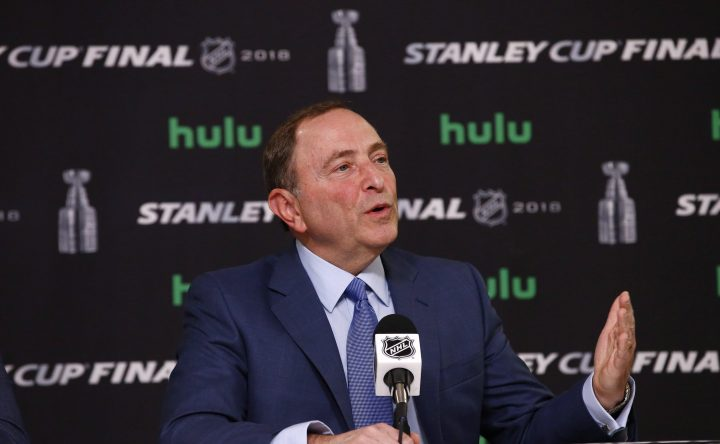 In this May 28, 2018 file photo, NHL Commissioner Gary Bettman speaks during a news conference.