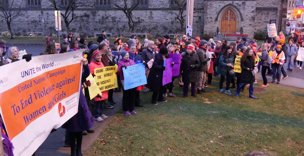 Residents and advocates participate in a march to mark the United Nations campaign to end gender-based violence in Ottawa on Nov. 25, 2017, also the International Day for the Elimination of Violence Against Women.
