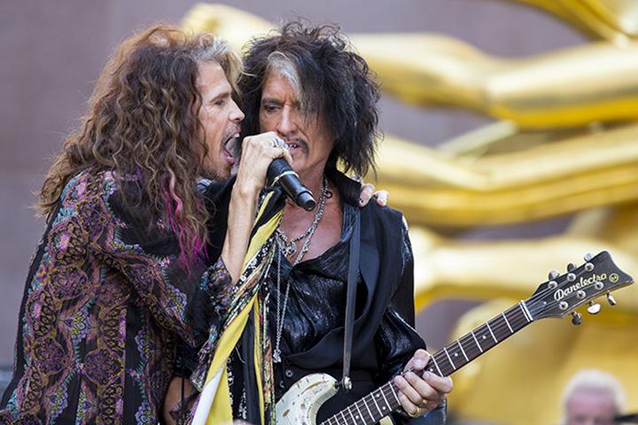 (L-R) Steven Tyler and Joe Perry of Aerosmith perform on Aug. 15, 2018. Aerosmith.