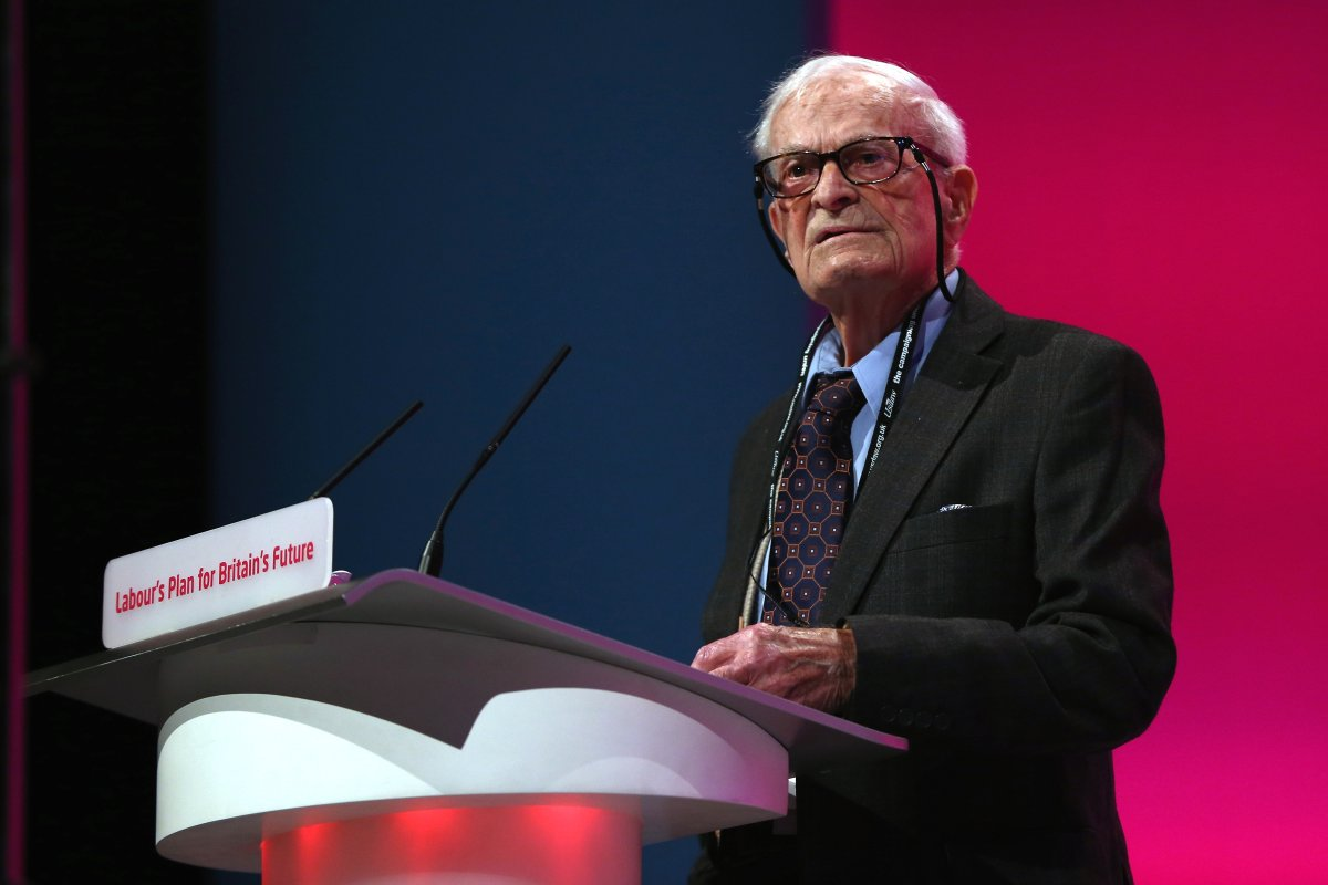 Harry Leslie Smith delivers an impassioned speech about his life and the NHS on September 24, 2014 in Manchester, England.