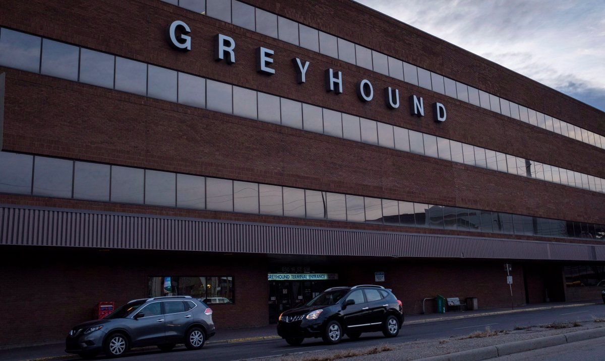 Vehicles are seen outside the Greyhound bus terminal in Calgary, Alta., Wednesday, Oct. 31, 2018.